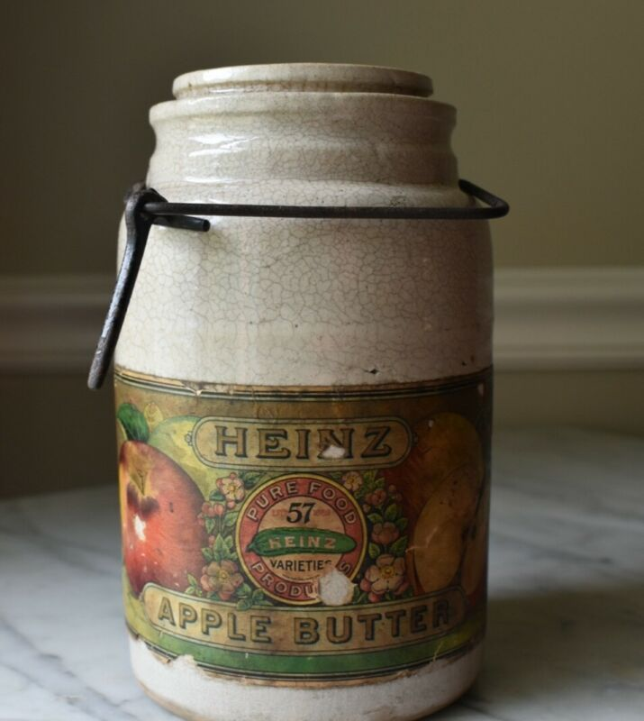ANTIQUE HEINZ APPLE BUTTER GLAZED STONEWARE CROCK w/ COLORFUL LABELS