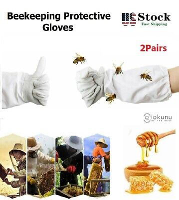 New 2pair Xl Beekeeping Protective Gloves With Vented Long Sleeves Guard Grey Us