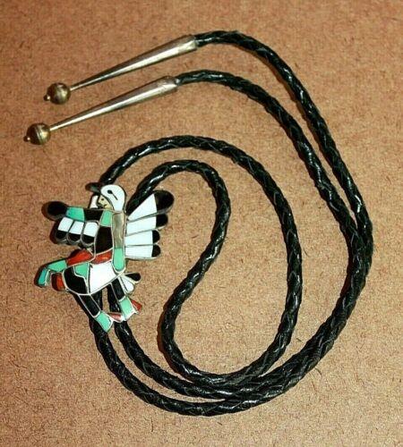 WM Zunie Sterling Silver Multi-Stone Inlay Eagle Dancer Kachina Bolo Tie [091WEI