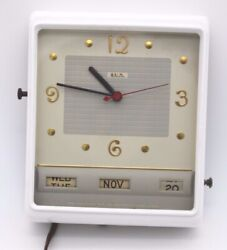 VINTAGE LUX ELECTRIC WALL Kitchen Calendar Retro CLOCK - SERIES 5120 - WORKS!!