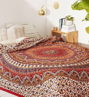 Red Indian Mandala Tapestry Hippie Wall Hanging Bohemian Bedspread Dorm Decor