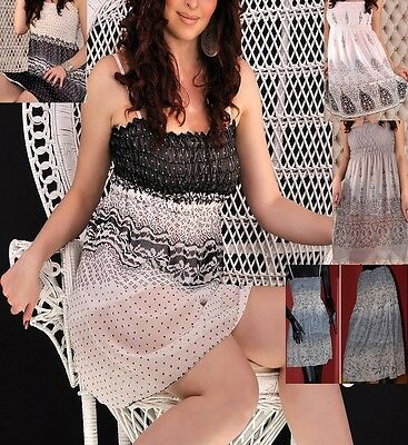 Chiffon MINI Kleid kurz BANDEAU Empire ROCK Tunika Träger CAMISOL XXS XS S M Chiffon Kurze Kleid Rock