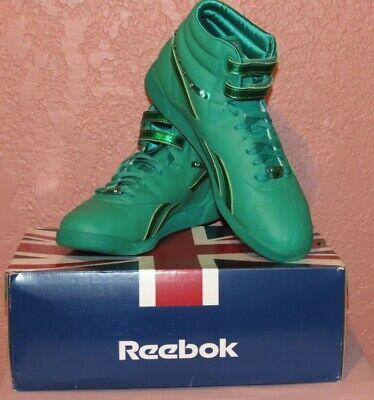NIB Womens Classic Reebok Freestyle Hi Jewels Parrot Green Lthr Sz.10 1/2