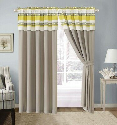 4Pc Yellow Grey White floral Window Curtain set 108 x 84-inch Floral Window Treatment