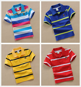 Toddler-Baby-Kids-Boys-Top-Tee-Short-Sleeved-Polo-T-shirt-Size-4-5-6-7-8-9-10T