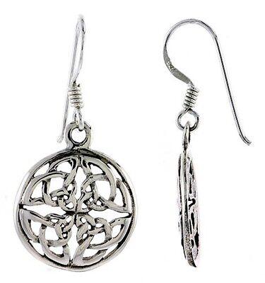 Irish Celtic Knotwork Circle Dangle Earrings .925 Sterling Silver