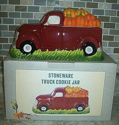 Farm Truck~ Pumpkins Cookie Jar Canister Stoneware Cracker Barrel New in Box