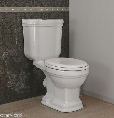 Retro Nostalgie Stand WC mit Spülkasten+ WC Sitz weiß Abgang waagerecht