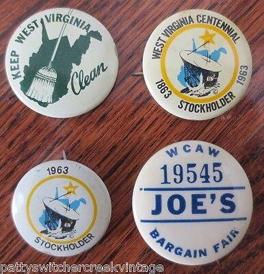 Vintage Pinbacks-WEST VIRGINIA Centennial Stockholder WCAW Keep WV Clean-4PCS