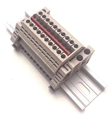 Power Distribution Terminal Blocks 10 Connector Din Rail Dinkle 12awg 20a 600v