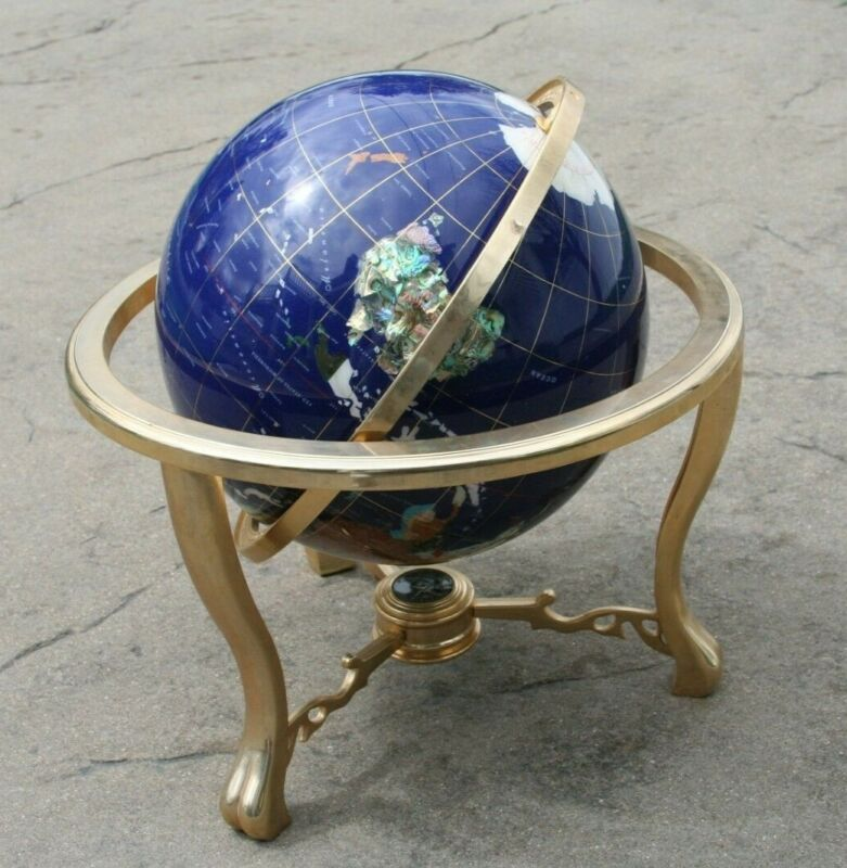 """Large 18"""" Tall Gemstone Inlay World Globe Blue Tabletop with Compass Genuine"""