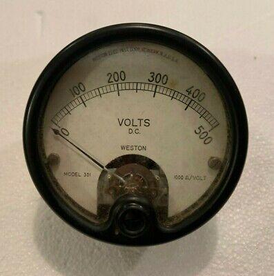 Vintage Weston Panel Meter 0-500 Volts Dc Model 301