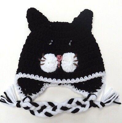 CROCHET CAT KITTY BABY EAR FLAP HAT infant toddler adult beanie cap photo prop Crochet Baby Ear Flap Hat