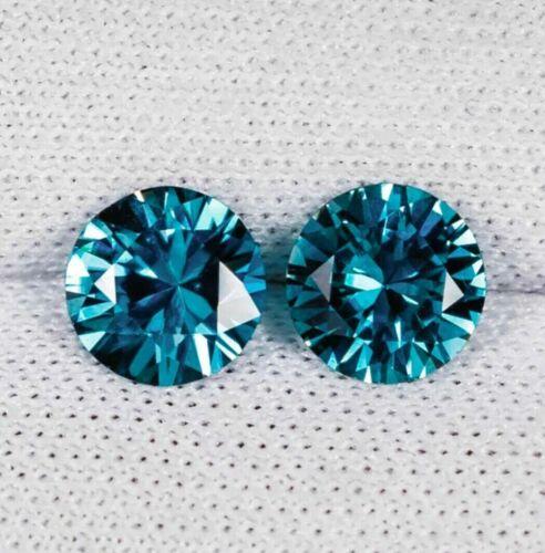 6MM DAZZLING DIAMOND CUT  NATURAL BLUE ZIRCON PAIR - ROUND