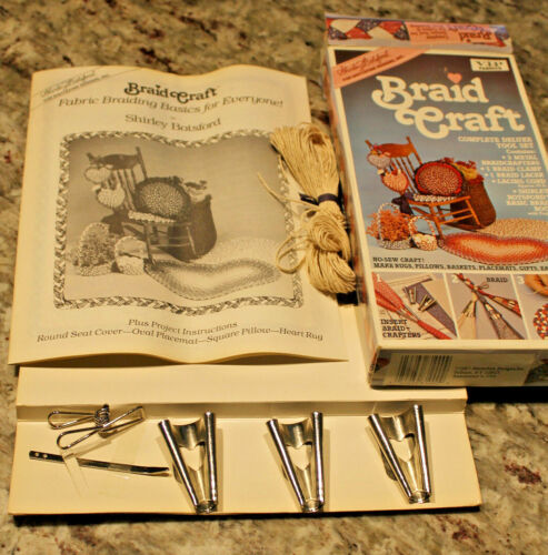 Vintage Braid Craft Tool Set - no sew craft rugs pillows baskets placemats gifts