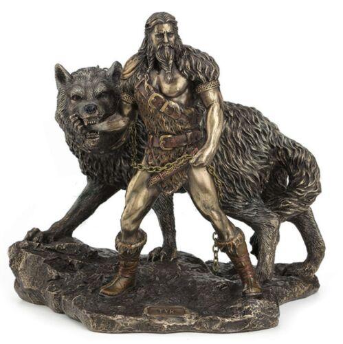 "9.5"" Tyr & the Binding of Fenrir Statue Sculpture Norse Figure Figurine Decor"