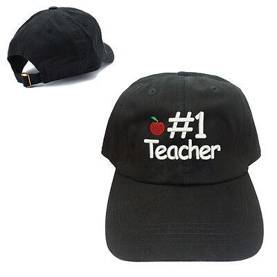 Apple Cotton Cap (#1 TEACHER APPLE LOGO 100% COTTON BASEBALL CAP WITH TEXT EMBROIDERED)