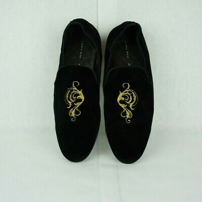 Zara Men Black Velvet Smoking Loafers Gold Embroidery 44 EU / 10 US pre-owned