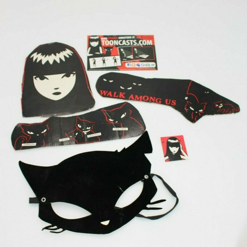 Collectible Emily the Strange Miles cat mask, Bookmark, and four magnets set