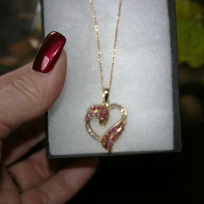 Genuine ruby necklaceebay 1 100ctw genuine ruby diamond heart pendant necklace 14k yellow gold over 925 ss mozeypictures Gallery