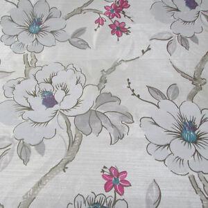 Oriental Printed Taffeta Silver Grey Metallic Designer Curtain Fabric £8.99 mts