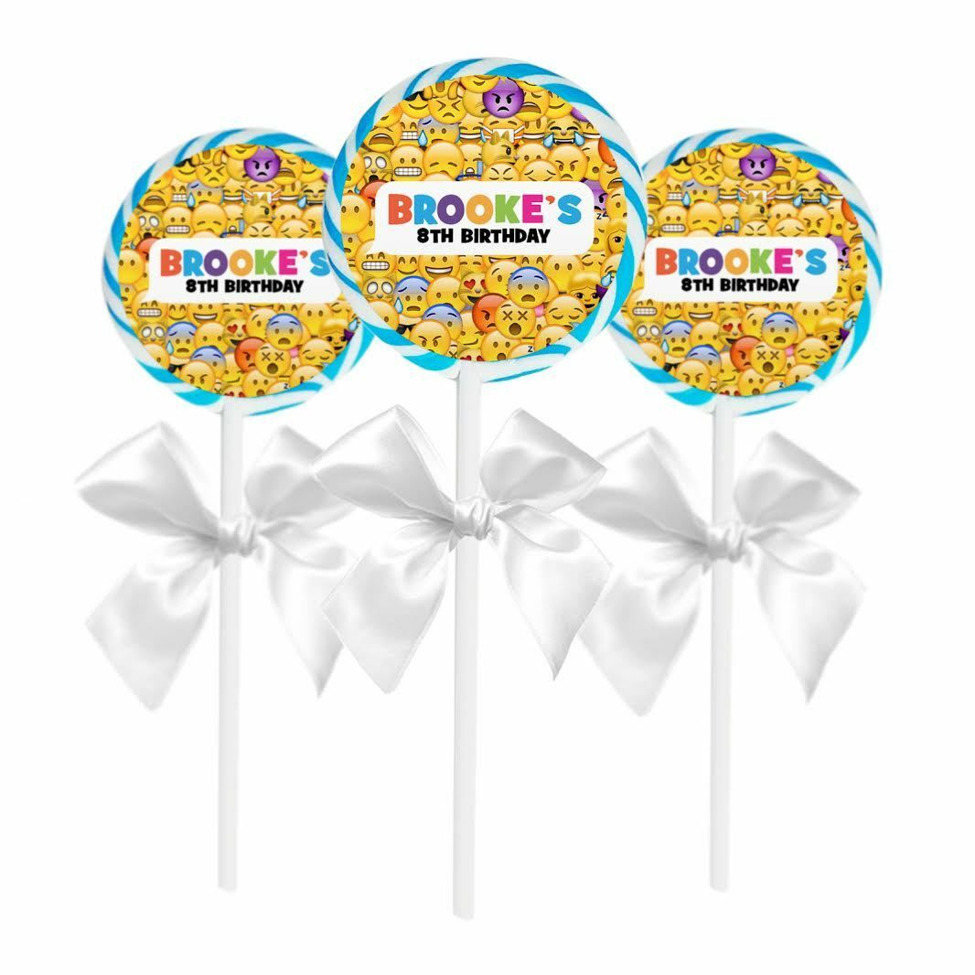 """24 Emoji Theme Birthday Party Favors 1.65"""" Personalized Loll"""