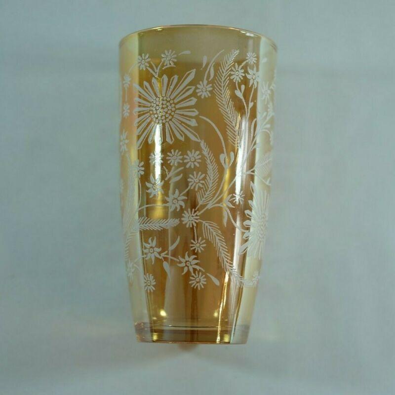 Vintage Jeanette Glass Marigold & White Flower Glasses Luster Carnival