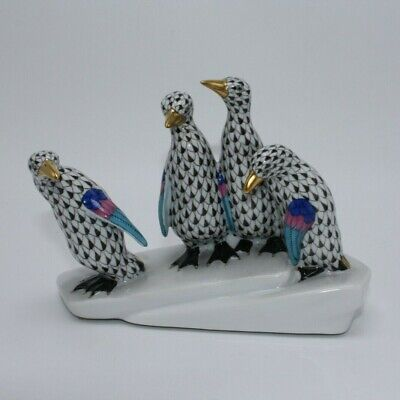 HEREND Black Fishnet PENGUINS ON ICE