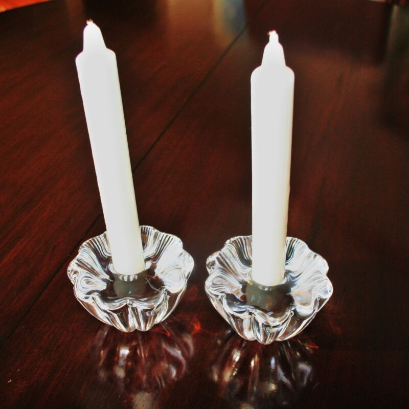 Antique/Vintage Pair of CRYSTAL Artistic MCM CANDLESTICKS Candle Holders RARE
