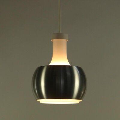 Staff Pendel Leuchte P118 Glas & Alu matt Hänge Lampe 70er Jahre