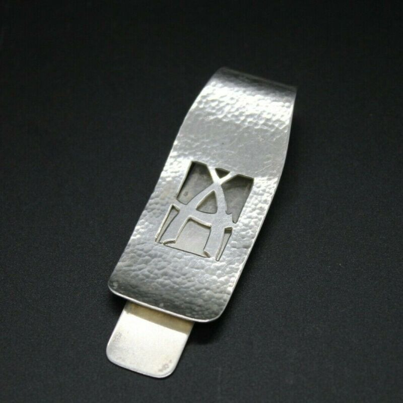 Hand Wrought Sterling Silver Money Clip with Initial A