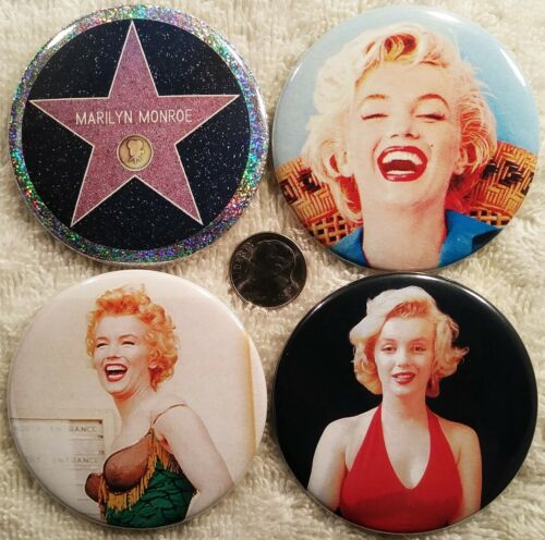 Marilyn Monroe PIN BUTTON LOT Rare Photo Hollywood Walk Of Fame Movie Film Star