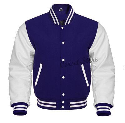 Varsity Letterman Navy Blue& White Jacket in Wool and Genuine Leather Sleeves