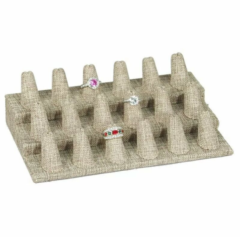 18 Finger Ring Display for Jewelry Showcase Stand for Ring Burlap Ring Display