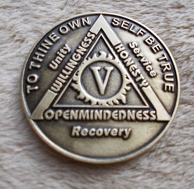 Used, aa bronze alcoholics anonymous 5 year sobriety chip coin token medallion for sale  Philadelphia