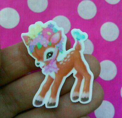 Vintage Style Cute Kitsch Floral Deer Fawn Bambi Brooch Pin Badge Retro Flower