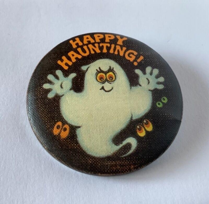 Hallmark Halloween Vintage GHOST Happy Haunting Holiday Button Pin