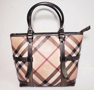 Burberry Autentic Women's Nova Check Leather Tote Handbag!