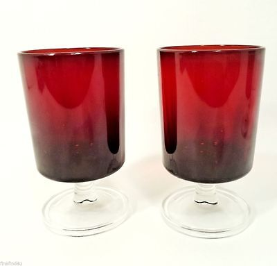 PAIR (s) -2 RUBY RED CLEAR FOOTED STEMS GLASSES WINE FRANCE