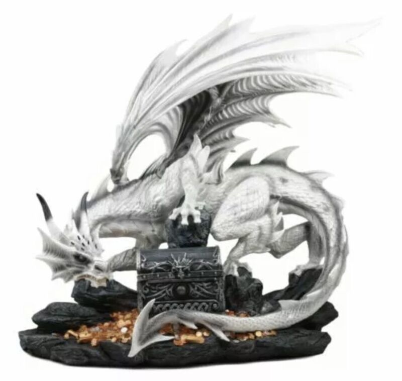 "Large 20""L White Cloud Dragon Guardian Of Treasure Mine Statue With Secret Box"