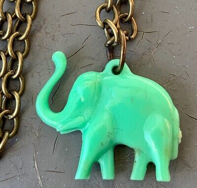VINTAGE LUCKY ELEPHANT CHARM NECKLACE GREEN CELLULOID CHARM BRASS NECKLACE CHAIN
