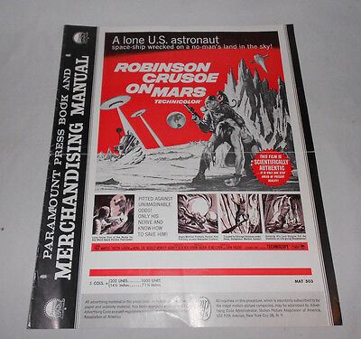 ROBINSON CRUSOE ON MARS PARAMOUNT PRESS BOOK AND MERCHANDISING MANUAL 1964