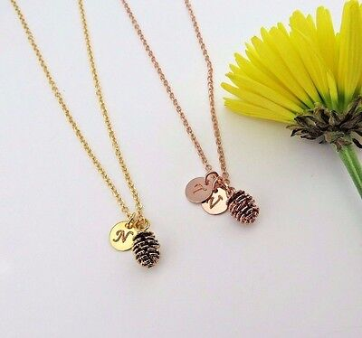 Personalized Custom Pinecone Pendant Necklace Pine cone with Initials Discs ](Pinecone Jewelry)