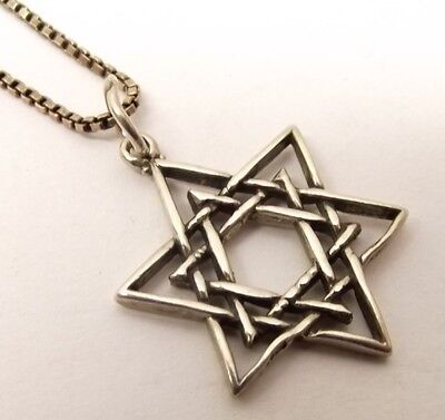Vtg Sterling Silver Star of David Pendant Necklace Judaica Symbol Judaism Woven