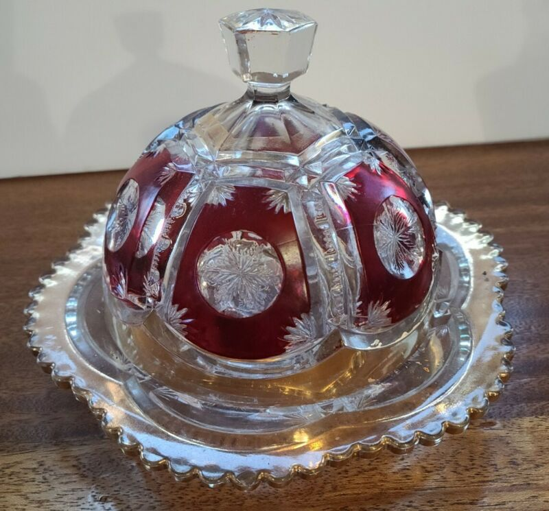 Ruby And Clear Glass Domed Cheese Dish
