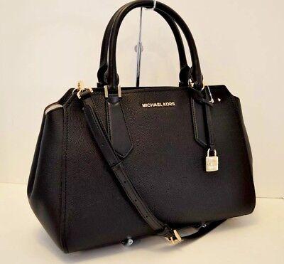MICHAEL KORS TASCHE BAG HAYES LG SATCHEL Leather Leder black
