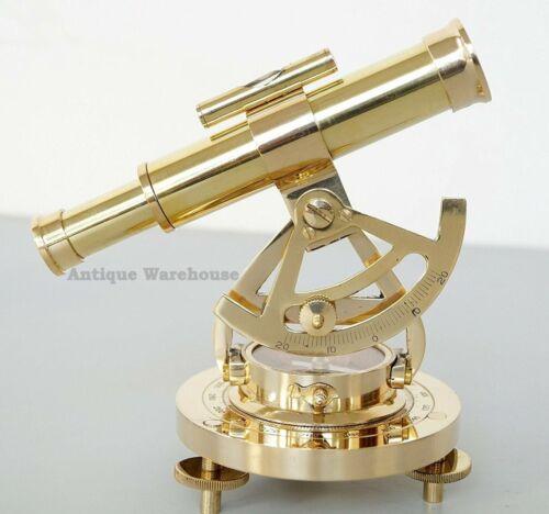 Handmade Brass Survey Instrument Desk Top Compass With Alidate Telescope Decor