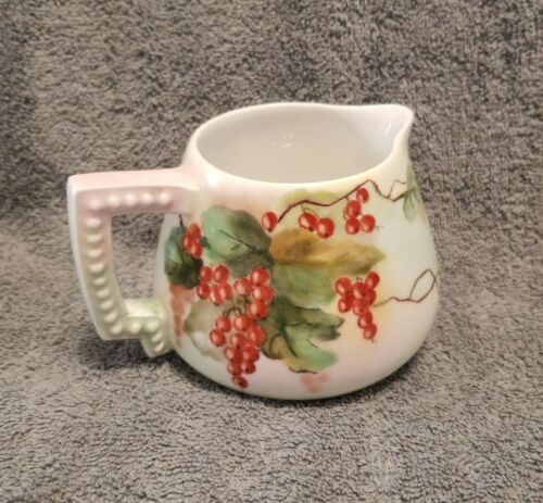 Porcelain Hand Painted GRAPES Motif Wine Cider PITCHER SIGNED ME Smith Germany  - $40.00