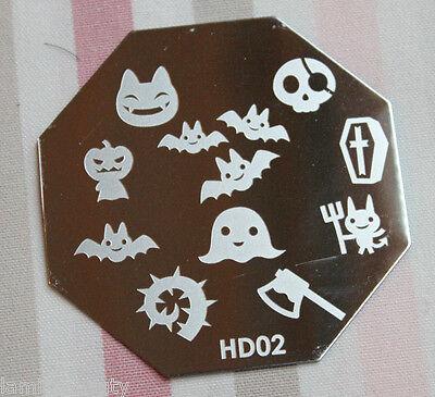 Nail Art Stamping Schablone Halloween HD 2 XL Design Fledermaus Axt Schädel ()