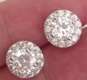 18k White Gold Diamond Cer Stud Earrings 306